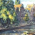 Canal en Hollande - Aquarelle